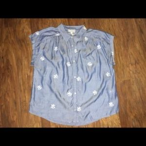 NWT Lucky Brand Chambray Top with Floral Details